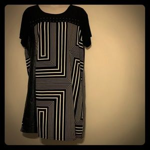 Calvin Klein Black & White Dress w Pleather Detail